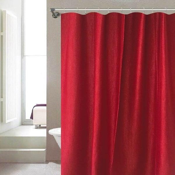 Serenity Dobby Design Metallic Shimmer Shower Curtain, Burgundy ...