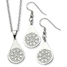Chisel Stainless Steel Snowflake Cutout Wire Earrings and Pendant Set