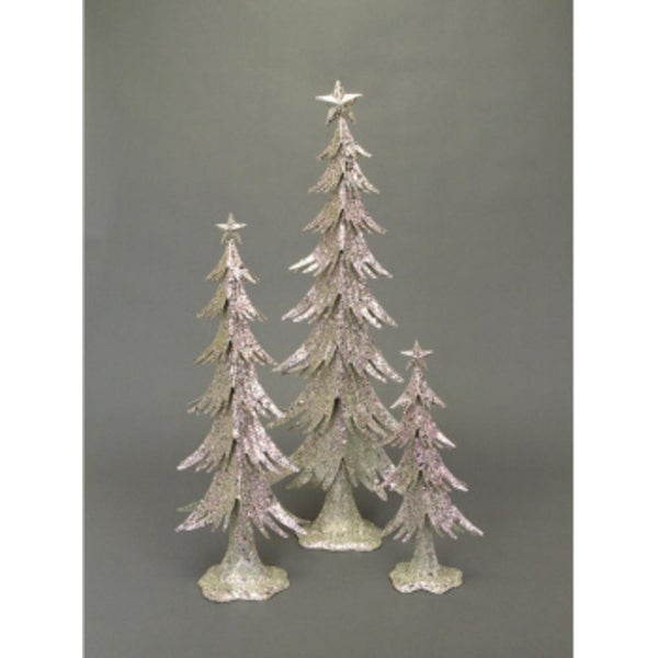 """Set of 3 Winter's Blush Silver Glittered Table Top Christmas Trees 16"""" - 31"""""""