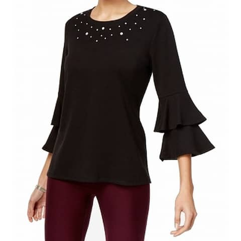 NY Collection Black Women's XL Embellished Ruffle Sleeve Knit Top