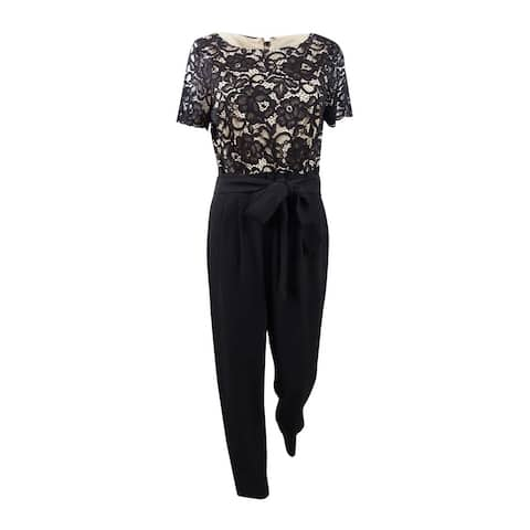 Jessica Howard Women's Lace-Top Jumpsuit (10, Black) - Black - 10