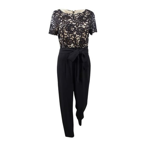 Jessica Howard Women's Lace-Top Jumpsuit (12, Black) - Black - 12