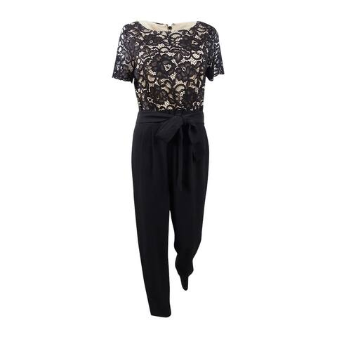Jessica Howard Women's Lace-Top Jumpsuit (14, Black) - Black - 14