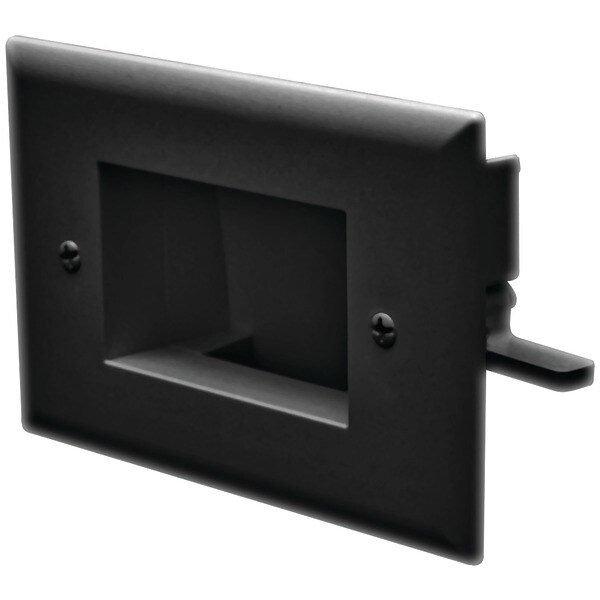 Datacomm Electronics 45-0008-Bk Easy-Mount Recessed Low-Voltage Cable Plate (Black)