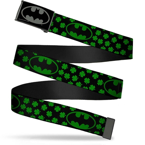Batman Reverse Brushed Black Silver Black Chrome Bat Shield Clovers Web Belt