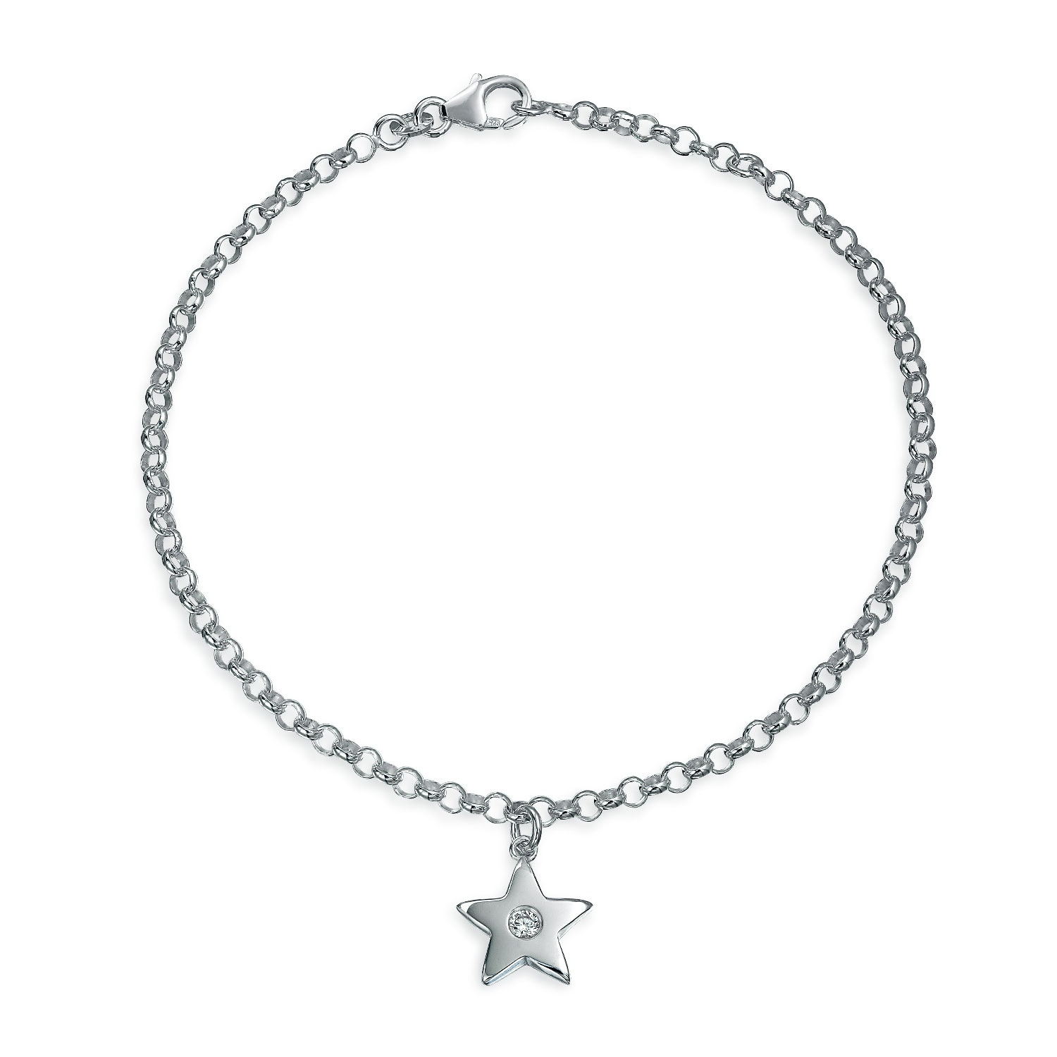 Sterling Silver Palm Tree Figaro Chain Anklet 9