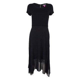 Vince Camuto Women's Asymmetrical Chiffon-Contrast Dress (Rich Black, S) - rich black - s