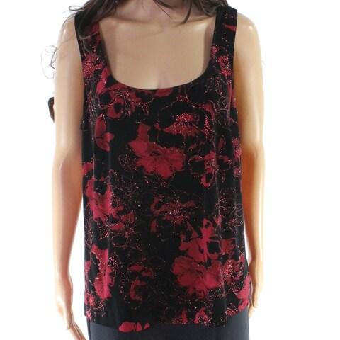 Alex Evenings Red Women's 1X Plus Floral Glitter Twinset Sweater