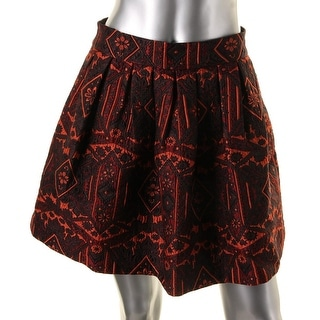 Alice + Olivia Womens Jacquard Metallic A-Line Skirt