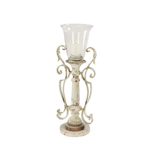 """7"""" x 19"""" Tall Distressed White Metal and Wood Decorative Candle Holder - 7 x 6 x 19"""