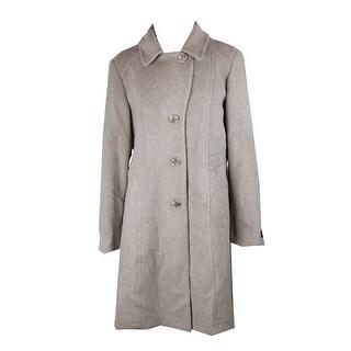 Anne Klein Grey Wool-Cashmere Walker Coat - 16