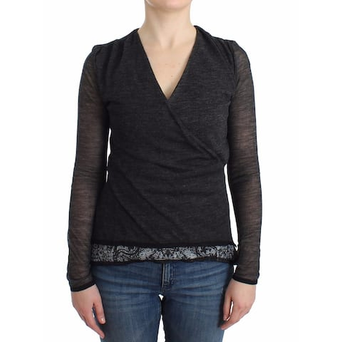Ermanno Scervino Gray Wool Blend Stretch Long Sleeve Women's Sweater