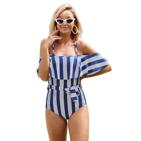 Cali Chic Women's One-Piece Swimwear Celebrity Blue Striped Ruffled Swimsuit