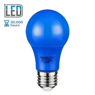 TORCHSTAR 7W Blue LED A19 Colored Light Bulb, E26/E27 Base, 30,000hrs