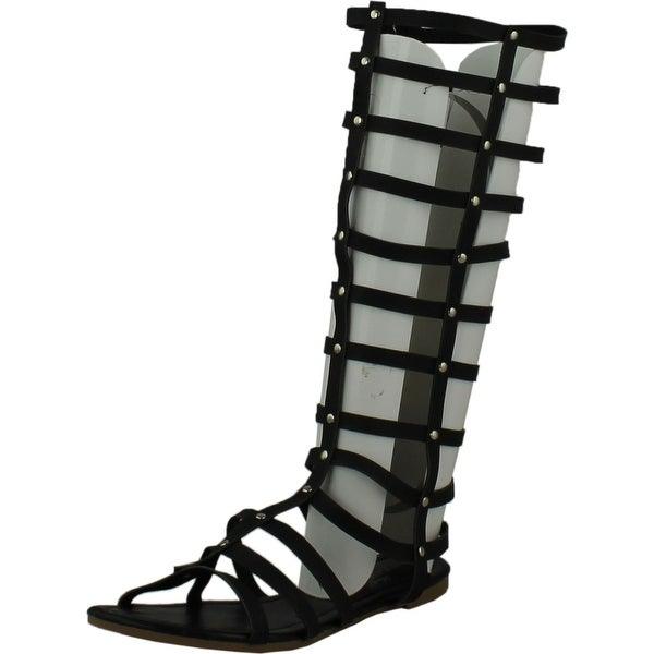 Rasolli Womens Glady-1 Knee-High Gladiator Sandals - Black