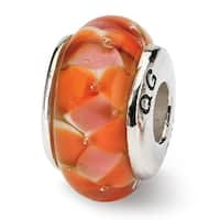 Sterling Silver Reflections Orange Hand-blown Glass Bead (4mm Diameter Hole)
