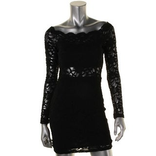 Jump Apparel Womens Juniors Party Dress Lace Illusion