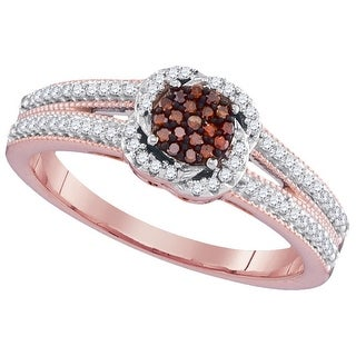 1/4Ctw Red Diamond Micro-Pave Bridal Engagement Ring 10K Rose-Gold
