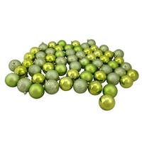 "60ct Kiwi Green Shatterproof 4-Finish Christmas Ball Ornaments 2.5"" (60mm)"