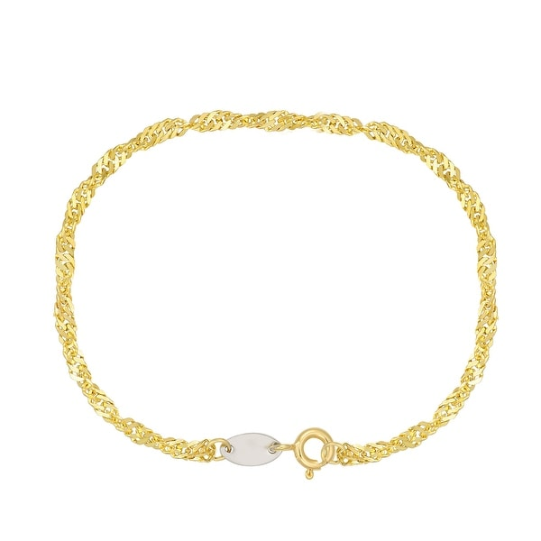 "Forever Last 10 K Gold Bonded over Silver 7.25"" Singapore Bracelet. Opens flyout."