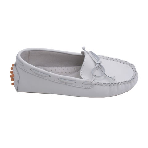 L'Amour Toddler Girls White Bow Leather Moccasin 7-10 Toddler