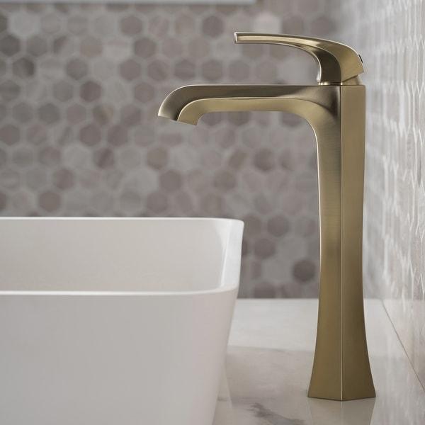 KRAUS Esta Single Handle 1-Hole Vessel Bathroom Faucet w/ Pop Up Drain