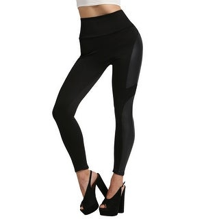 NE PEOPLE Womens High Waist Side Faux Leather Leggings USA [NEWP50]