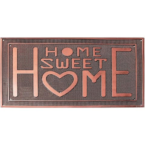 "A1HC Home Sweet Home Rubber Pin Mat Heavy Duty Doormat , Copper - 24""X39"""