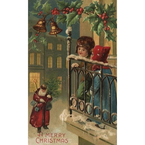 Christmas Greeting Kids & Santa Vintage Holiday (100% Cotton Towel Absorbent)