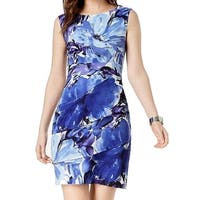 Connected Apparel Blue Women's Size 12 Floral Tiered Sheath Dress