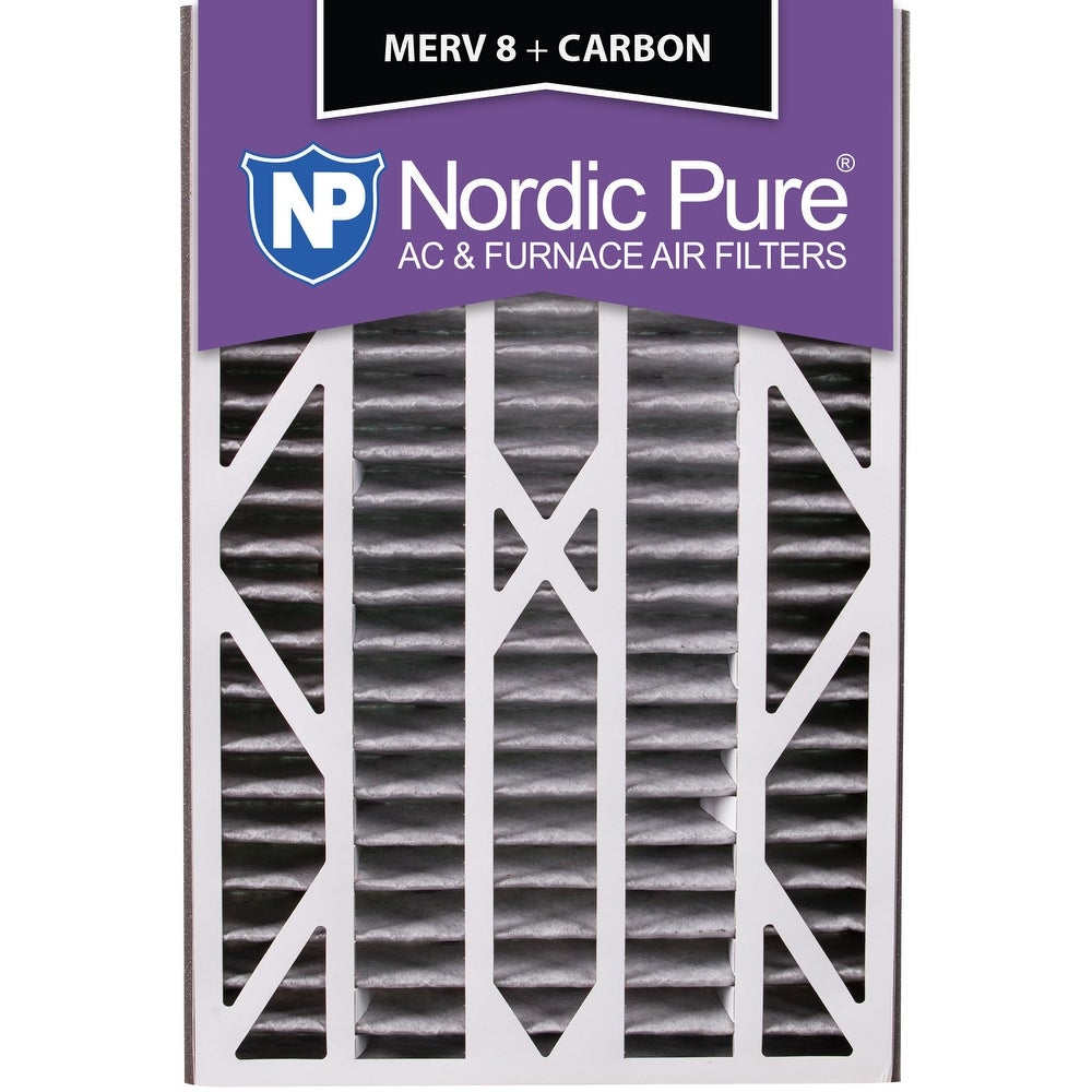 Nordic Pure 16x25x3 Air Bear Cub Replacement MERV 8 Pleated Plus Carbon Qty 7