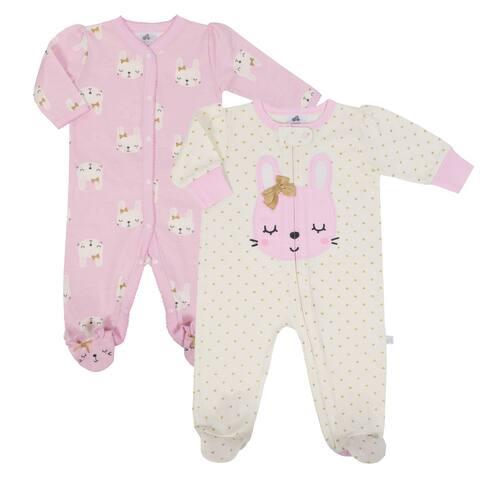 Just Born Bunny 2-Pack Organic Sleep 'N Play - pink bunnies