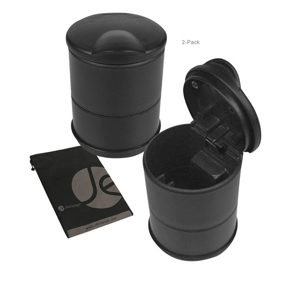 JAVOedge Durable Auto Car (2 PACK) Cigarette Portable Ashtray Fit Most Car Cup Holder - Black