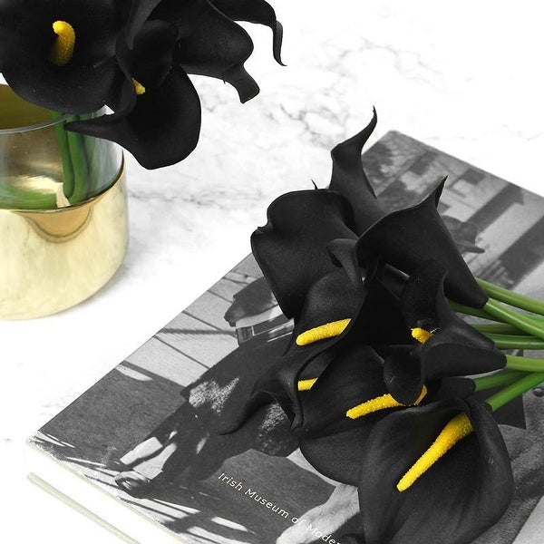 """FloralGoods Real Touch 9 Calla Lily Bouquet in Black 13"""" Tall"""