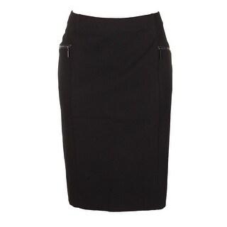 Alfani Plus Size Deep Black Zipper Detail Knit Pencil Skirt W