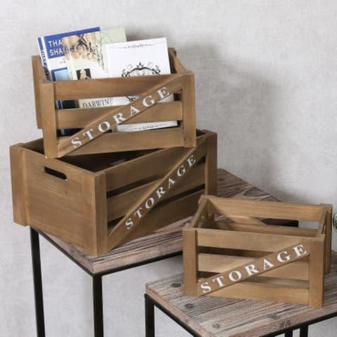Set of 3 Storage Wood Crates