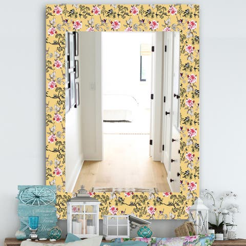 Designart 'Floral and Birds In Yellow' Traditional Mirror - Frameless Vanity Mirror