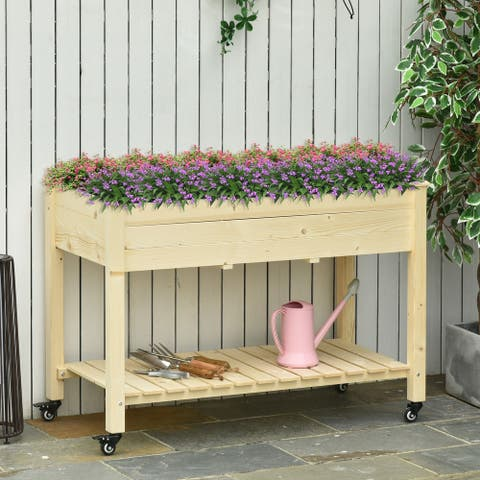 Outsunny Raised Garden Bed Mobile Elevated Wood Planter Box w/ Lockable Wheels, Storage Shelf for Herbs and Vegetables