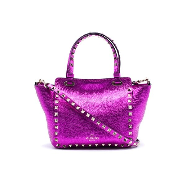 Valentino Womens Metallic Pink Mini Rockstud Tze Tote Bag Hot