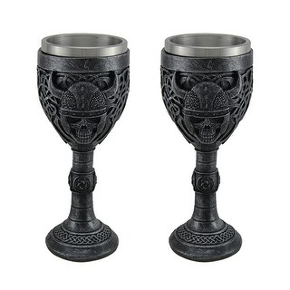 Set of 2 Viking Skull Stainless Steel Lined Gothic Chalices