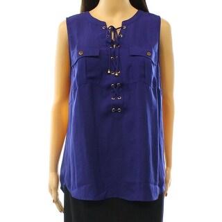INC NEW Blue Tartan Women's Size Large L Lace Up Two-Pocket Tank Blouse