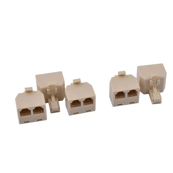 RJ11 6P4C Female 1 to 2 Telephone Internet Cable Splitter Connector 5pcs