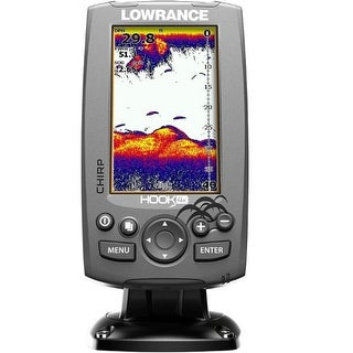Lowrance 000-12641-001 Hook-4x Mid/High/Downscan Fishfinder HOOK-4x Fishfinder w/83/200/455/800 HDI Transom Mount Transducer