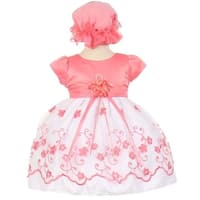 Little Girls Coral Floral Embroidery Overlay Special Occasion Bonnet Dress 3-4T