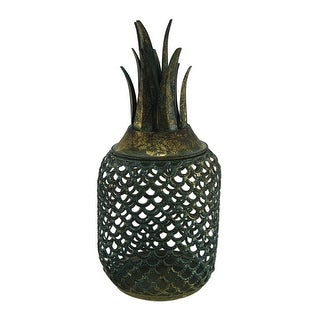 Antique Gold Finish Metal Pineapple Candle Holder Cage - Teal