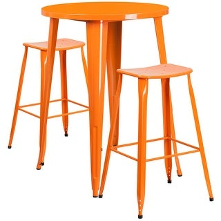 Brimmes 3pcs Round 30'' Orange Metal Table w/2 Saddle Seat Barstool