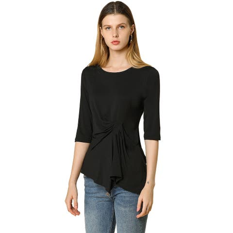 Women's Casual Asymmetrical Hem Ruched 3/4 Sleeves Round Neck Blouse Top