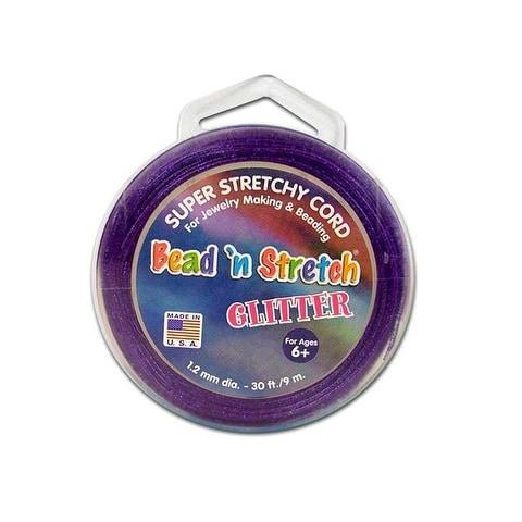 Toner Bead N Stretch Cord 1.2mm Glitter Purpl 30ft