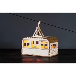 "What On Earth Solar-Lit Cable Car Nightlight - Poplar Wood Easy Assemble Model Building Kit - 12"" Long - beige - 12 in."