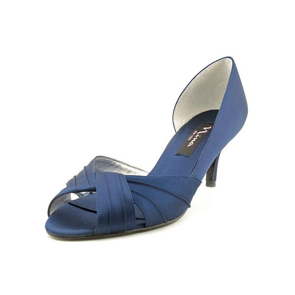 Nina Culver Women Peep-Toe Canvas Blue Heels